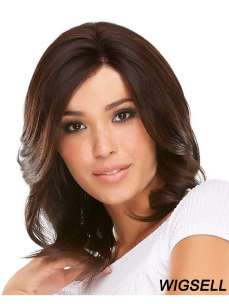 16 inch Auburn Shoulder Length With Bangs Curly Fabulous Lace Wigs