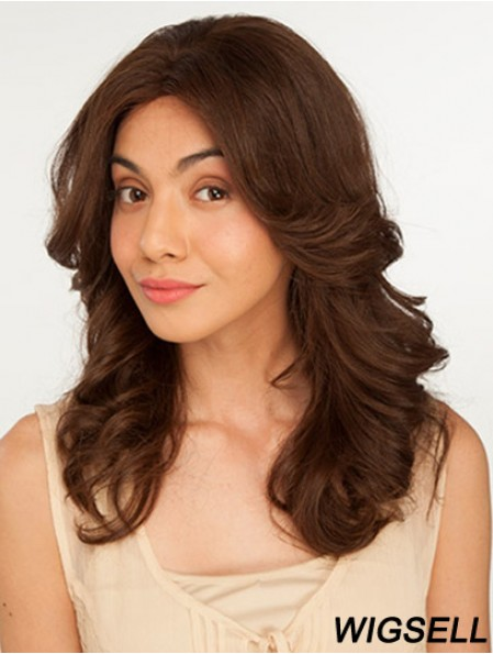 14 inch Brown Long Without Bangs Wavy Perfect Lace Wigs