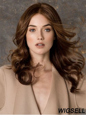 Wavy Without Bangs Monofilament Brown Ideal Long Wigs