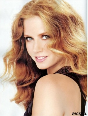 Without Bangs Long Copper Wavy 18 inch Perfect Human Hair Amy Adams Wigs