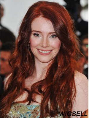 Without Bangs Long Copper Wavy 20 inch Cheapest Human Hair Bryce Dallas Howard Wigs