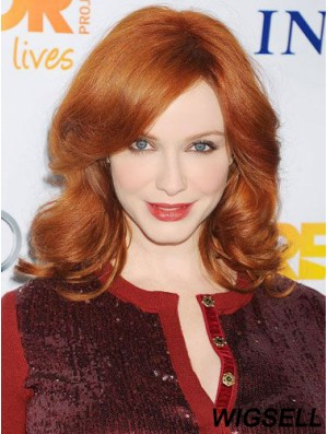 100% Hand-tied Wavy Without Bangs Shoulder Length 16 inch Fabulous Human Hair Drew Barrymore Wigs