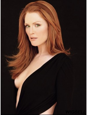 Without Bangs Long Copper Straight 18 inch Popular Human Hair Julianne Moore Wigs