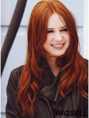 Without Bangs Long Copper Straight 20 inch Gorgeous Human Hair Karen Gillan Wigs