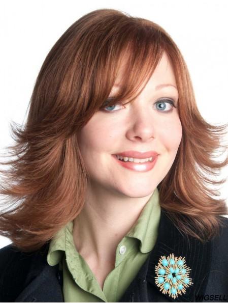 With Bangs Shoulder Length Auburn Wavy Designed Petite Wigs