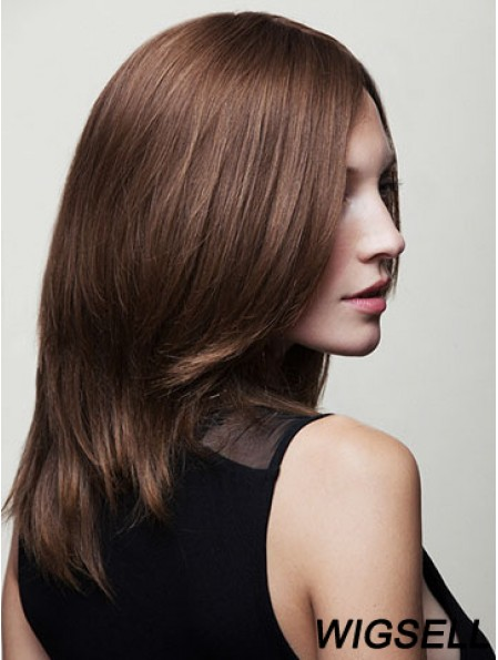 Layered Long Brown Wavy 16 inch Affordable Human Hair Wigs