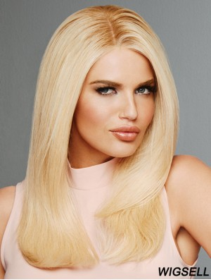 Straight Blonde Without Bangs 16 inch Remy Human Hair