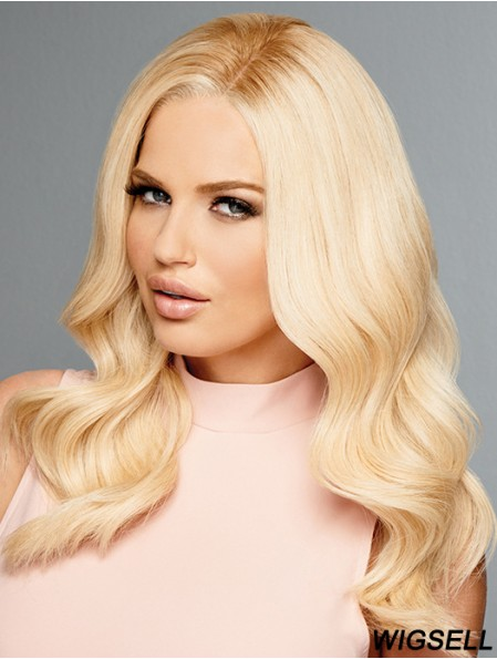 Wavy Wigs Long Blonde Hair Human Hair Mono Top Wig Online
