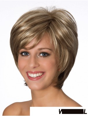 Layered Wavy Blonde 8 inch Real Human Wigs