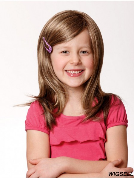 Lace Front 13 inch Straight Long With Bangs Blonde Remy Human Hair Wigs Kids