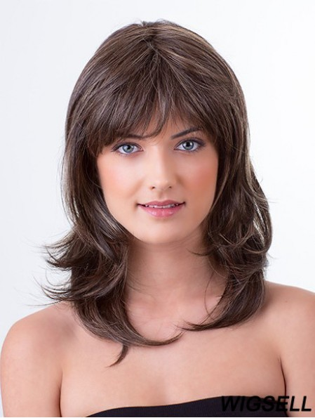 Brown 13 inch With Bangs Wavy Monofilament Remy Human Hair Medium Wigs Women