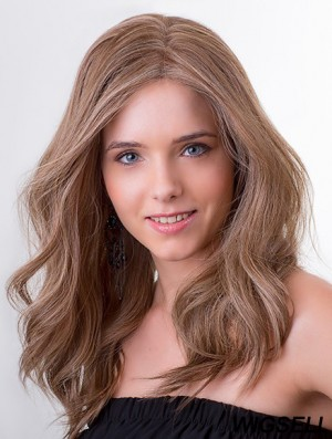 """100% Hand-tied Remy Human Hair 14"""" Long Wavy Brown Cancer Patient Wigs"""