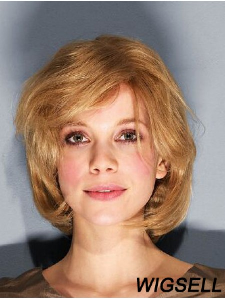 """10"""" Wavy Brown Remy Human Hair Chin Length 100% Hand-tied Bob Wigs For Sale"""