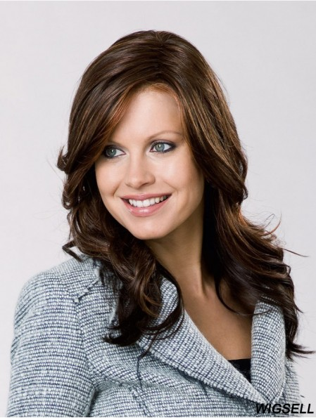 "Remy Human Hair Brown Wavy 15"" Lace Front Layered Ladies Long Wigs"
