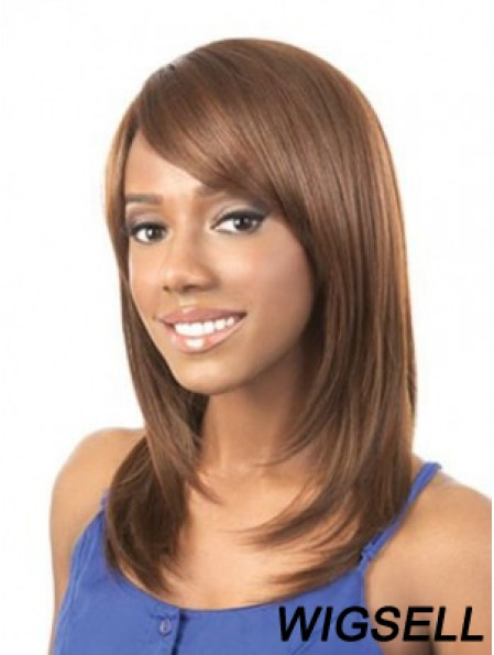 African American Wig Shoulder Length Striaight Wig Brown 16 Inch