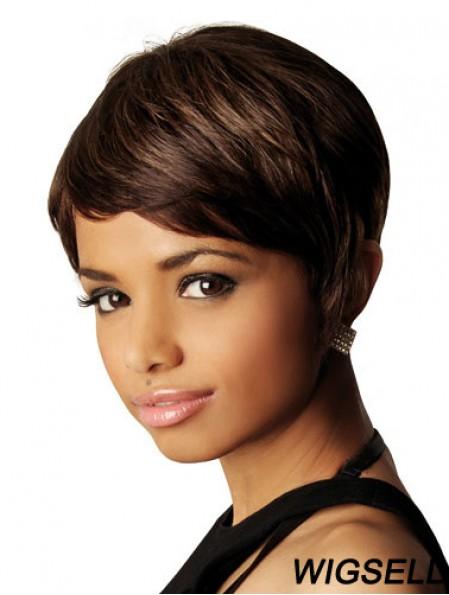 Brown Short Wig Human Hair African American Wig UK Straight Hair 8 Inch