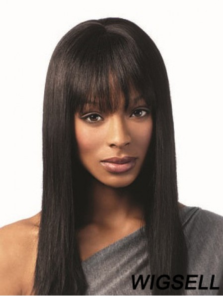 Black Long Wig With Bangs Human Hair African American Straight Wig