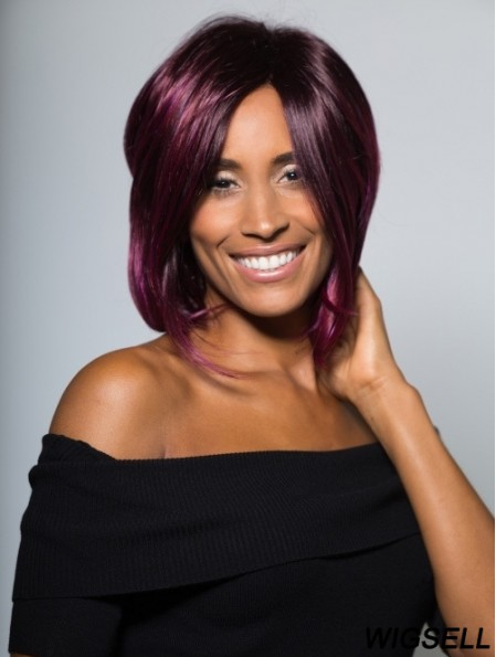 Purple Bob Wig UK Chin Length Lace Front Wig African American Wig