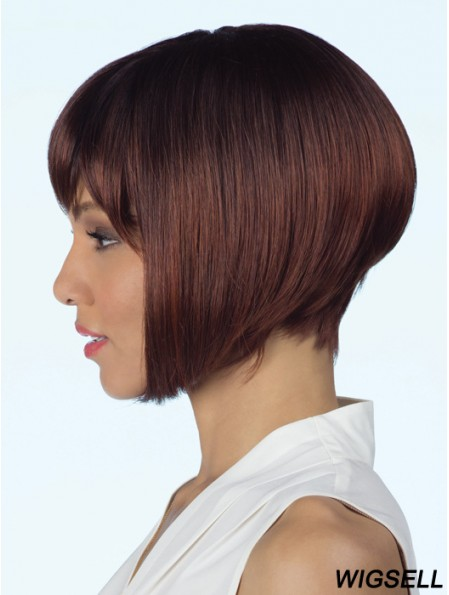 Lace Front Auburn Wig Chin Length Bob Wig African American Straight Wig