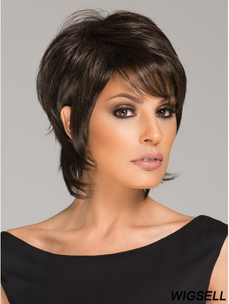 Black Cropped Wig UK Lace Front Short Wig African American Wig 6 Inch