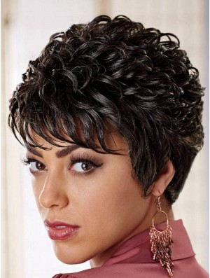 African American Wigs Online Layered Cut Curly Style Black Color