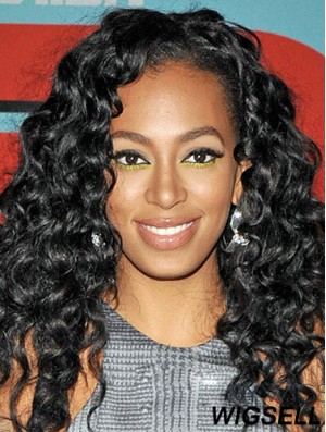 African American Wig With Synthetic Lace Front Black Color Kinky Style