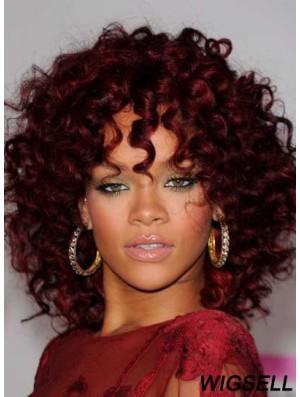 Kinky Wig Shoulder Length Rihanna Red Color Capless Wig