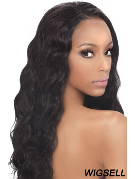 Black Wavy Human Hair With Capless Wavy Style Long Length
