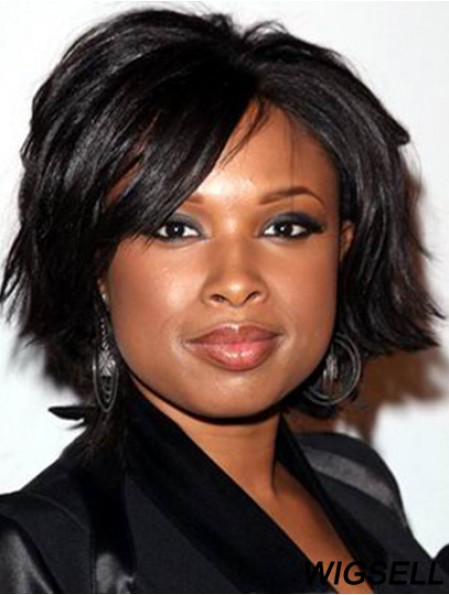 Black Chin Length Afro Wig Lace Front Jennifer Hudson Glueless Wig UK