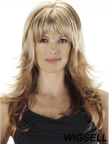 Long Wavy Ombre/2 With Bangs African American Human Wavy Hair Wig