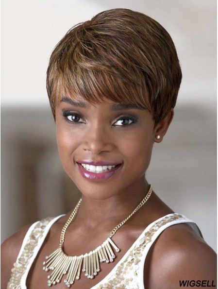 Short Auburn Straight With Bangs Natural African American Wigs