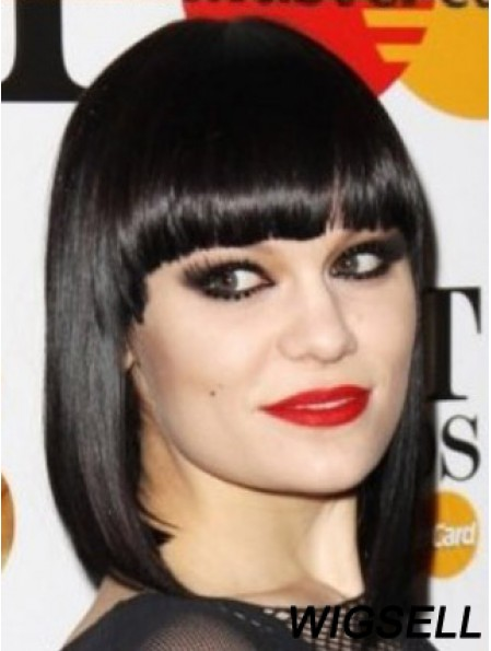 Capless Synthetic Yaki Bobs Black Shoulder Jessie J Wigs