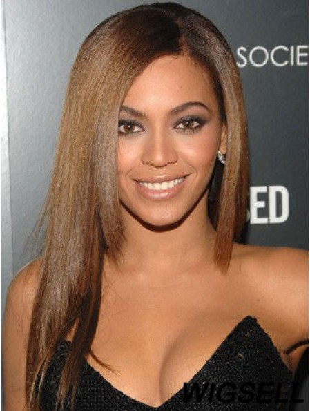 "Long Yaki Without Bangs Lace Front 18"" Flexibility Beyonce Wigs"
