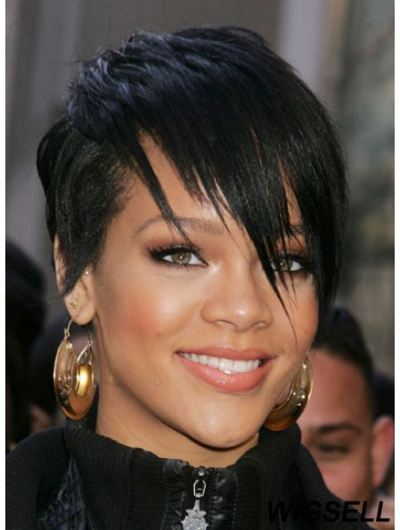 Rihanna Wigs For Sale With Capless Black Color Cropped Length Boycuts