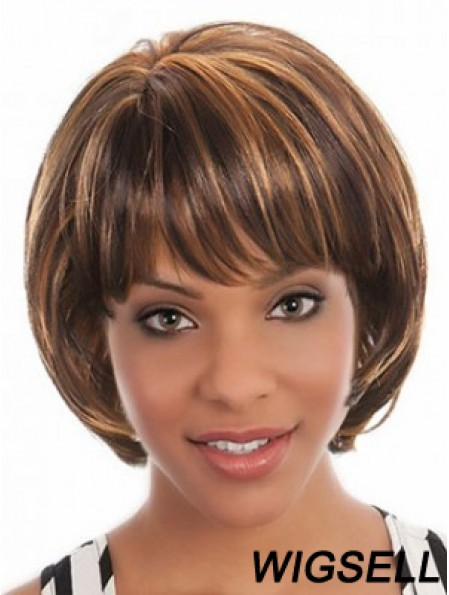 African Short Hairstyles With Capless Bobs Cut Brown Color