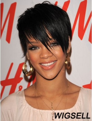 Rihanna Short Hair Wigs Boycuts Croppped Length Black Color