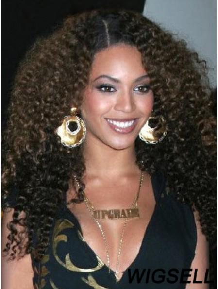 Remy Human Capless Kinky Long Brown Natural Hair Wing Like Beyonce