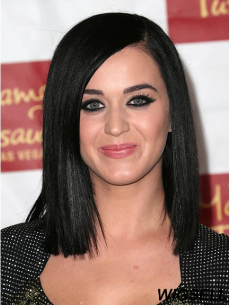 """12"""" Convenient Black Shoulder Length Yaki Without Bangs Katy Perry Wigs"""