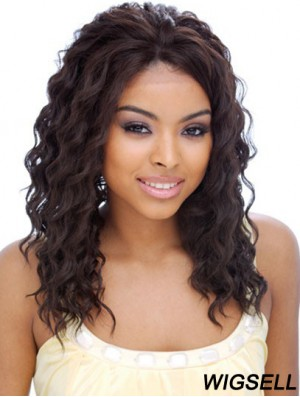 "16"" Black Shoulder Length Without Bangs Curly Affordable Lace Wigs"