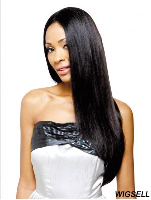 Long Black Yaki Without Bangs Soft African American Wigs