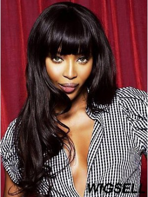 Naomi Campbell Lace Wigs With Bangs Lace Front Black Color