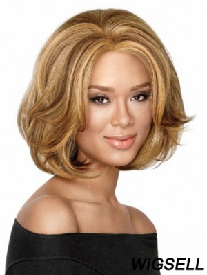 Chin Length Wavy Capless Blonde Durable Bob Wigs