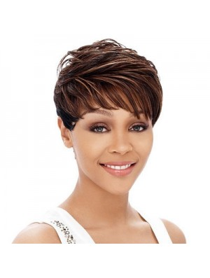 Cropped Auburn Straight Boycuts Hairstyles African American Wigs