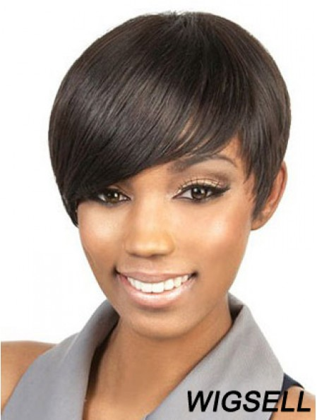 Cropped Brown Straight Boycuts Suitable African American Wigs