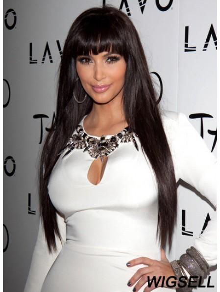 Brown Long Straight Lace Front Top 26 inch Kim Kardashian Wigs