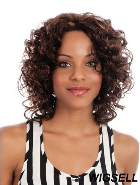Great Chin Length Curly 14 inch Synthetic Glueless Lace Front Wigs
