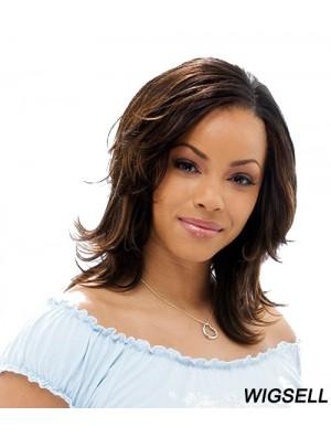 Shoulder Length Wig Brown Layered Wig African American Wig Human Hair