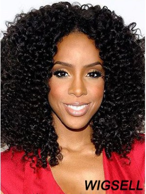 Designed 16 inch Shoulder Length Kinky Wigs For Black Women