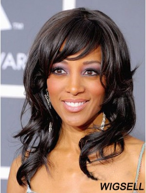 Long Black Wavy Layered No-Fuss African American Wigs