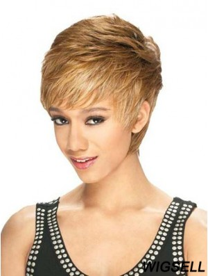 Designed Cropped Straight 8 inch Synthetic Glueless Lace Front Wigs